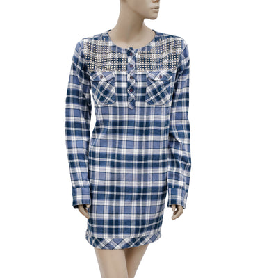 American Retro Plaids & Check Studded Cotton Tunic Dress Large L 42