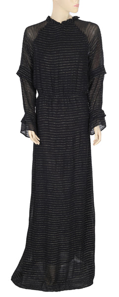 Hoss Intropia Anthropologie Ruffle Black Maxi Dress L