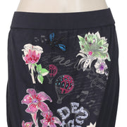New Desigual Printed Suniq Embellished Casual Black Mini Skirt Small S