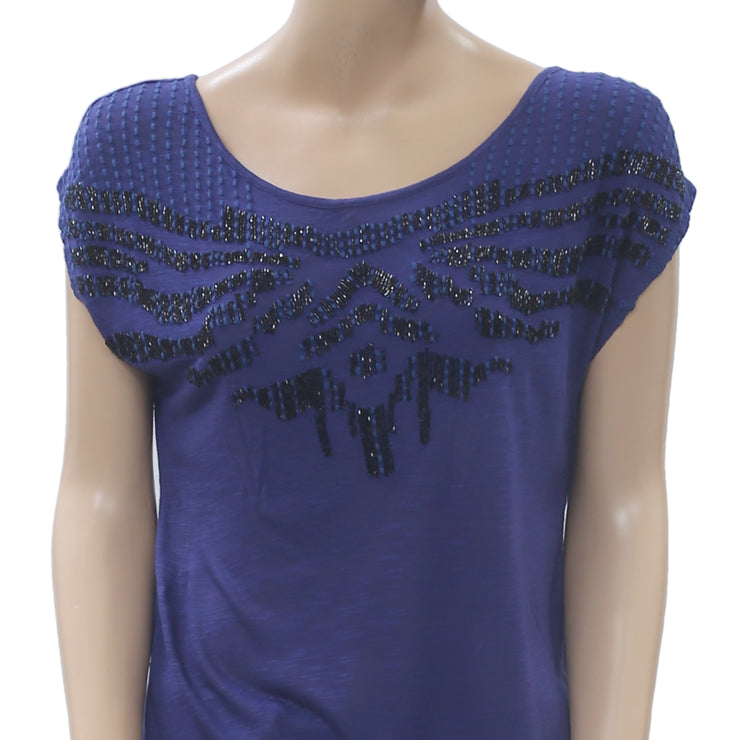 Ric Rac Anthropologie Beaded Embellished Tunic Top Embroidered Blue S