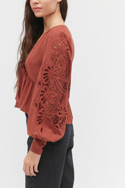Urban Outfitters Margo Embroidered Balloon Sleeve Blouse Top XL