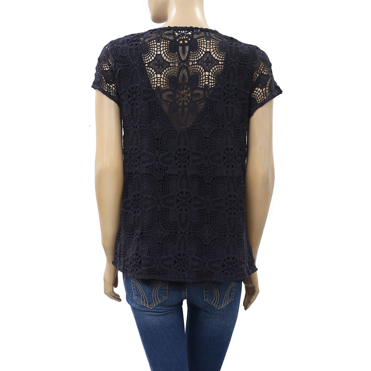 Odd Molly Anthropologie Crochet Lace Blouse Top L 3