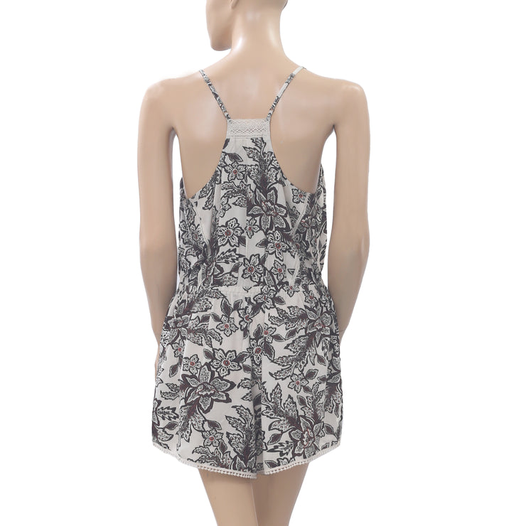 Eloise Anthropologie Avalon Floral Printed Romper Lace Slip Playsuit S