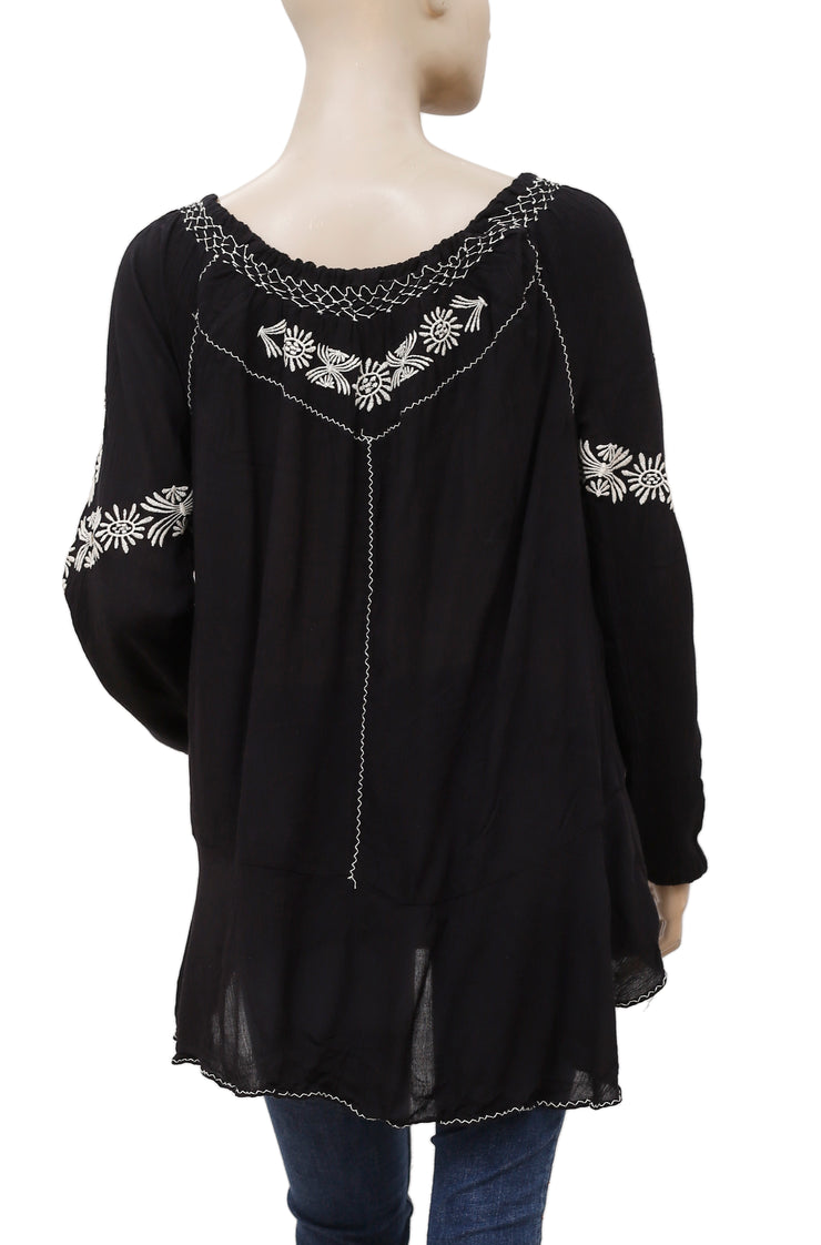 Free People Rolling Stone Embroidered Peasant Black Tunic Top S