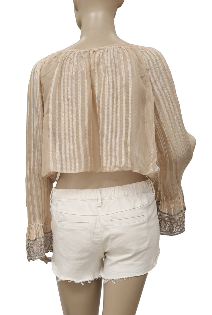 Free People Ray Of Light Embroidered Beige Crop Top M