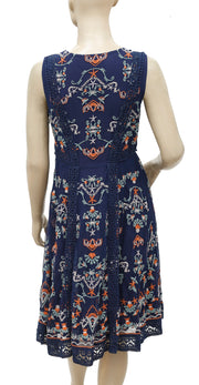Sundance Embroidered Crochet Lace Blue Dress S