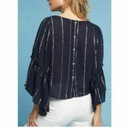 Floreat Anthropologie Emelyn Striped Navy Blouse Top XS