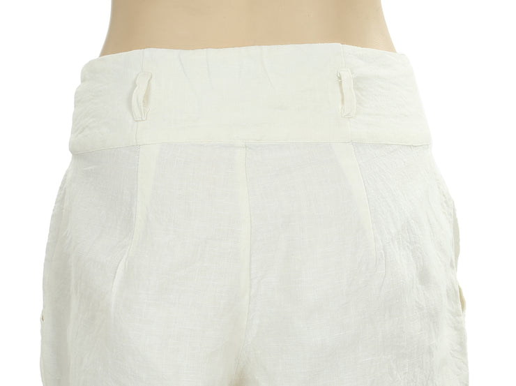 Free People Pocket Ivory Cotton Shorts Extra Small XS New