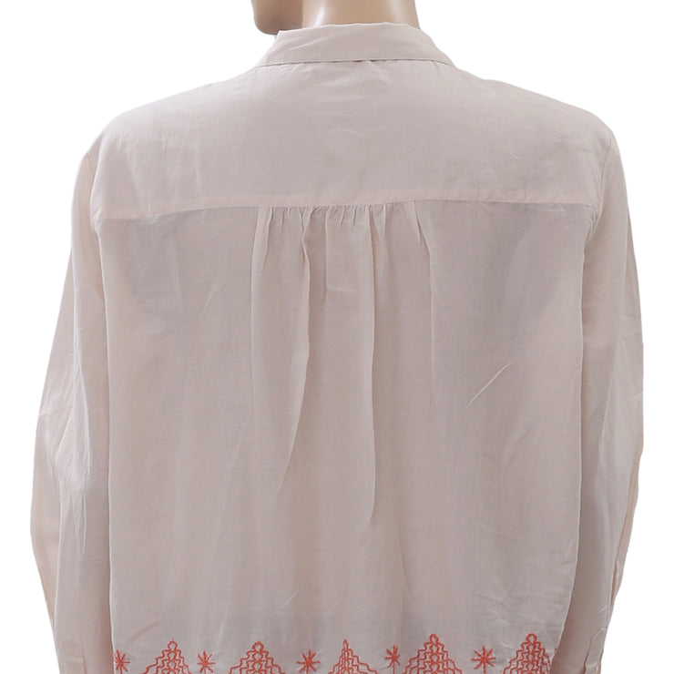 Holding Horses Anthropologie Embroidered Shirt Top Buttondown Peach L