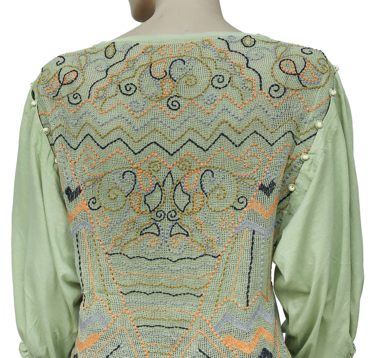Free People Embroidered Green Wide Sleeve Boho Casual  Blouse Top M