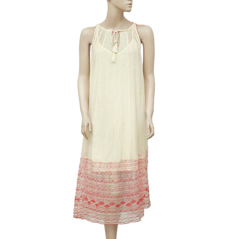 $128 Free People Embroidered Sleeveless Casual Ivory Gauzy Dress XS