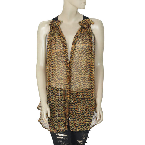 Isabel Marant Etoile Metallic Printed Buttondown Tunic Top Large L