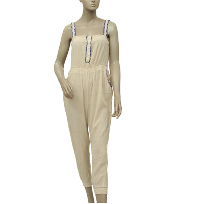 Free People Buttoned Smocked Beige Jumpsuit Dress S