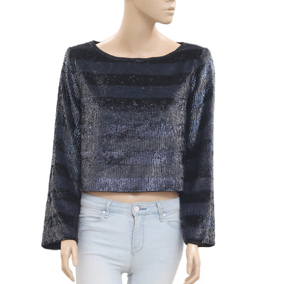New Zara Woman Sequin Embellished Striped Crop Blouse Top M
