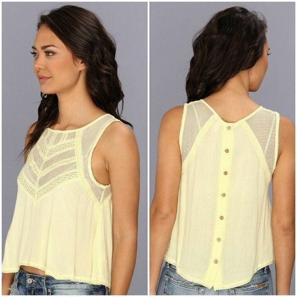 ree People Mesh Lace Canary Yellow Top S