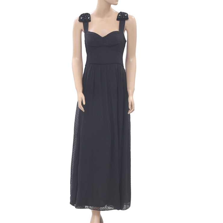 Uterque Plumetis Pearl Maxi Dress Velvet Dot Embroidered Black L 30 NEW