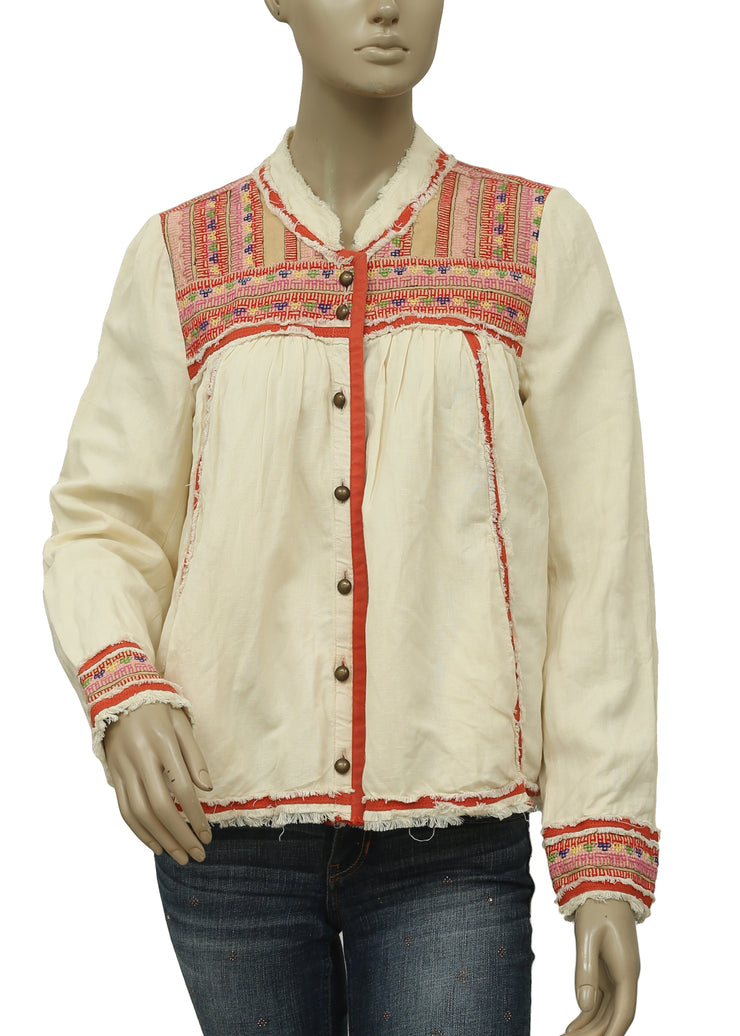 Free People Trapeze Prairie Embroidered Jacket Top S