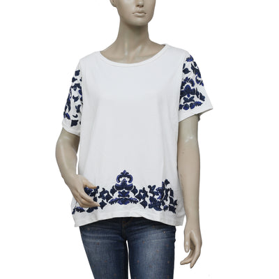 Zara Trafaluc Embroidered Embellished White Blouse Top M
