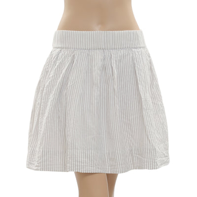 New White Chocolate Striped Printed Zipper Ivory Mini Skirt Small S