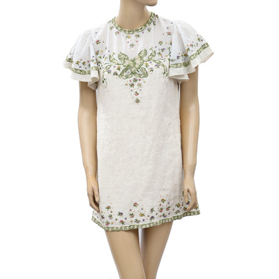 Free People Floral Embroidered Mini Dress S