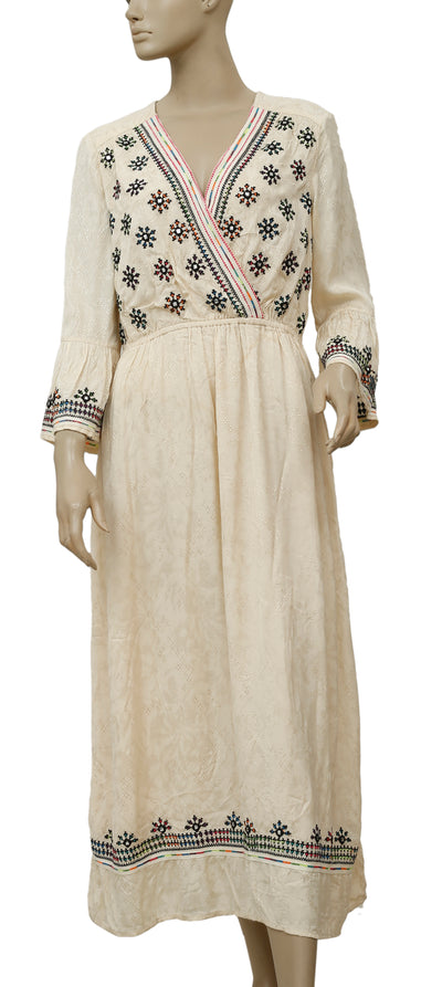Free People Embroidered Beige Midi Dress L