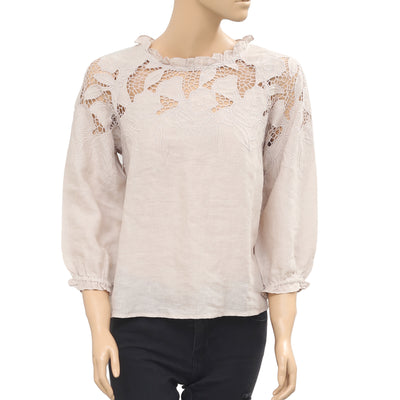 Ulla Johnson Beige Blouse Top Floral Embroidered Crochet Ruffle XS