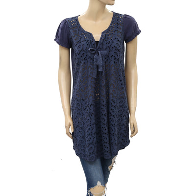 Odd Molly Eyelet Embroidered Tunic Top S