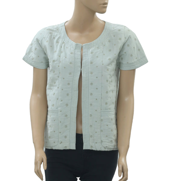Saivana Anthropologie Embroidered Mint Green Blouse Top Front Open S