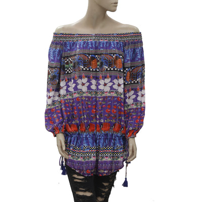 New Desigual Floral Printed Shimmer Off the Shoulder Tunic Top Medium M