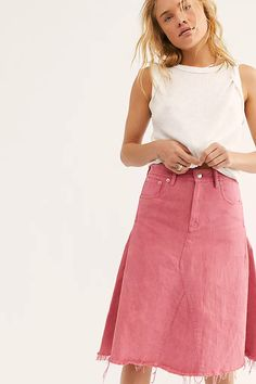 Free People FP One Peyton Pink Midi Skirt Denim Solid Summer Pocket S