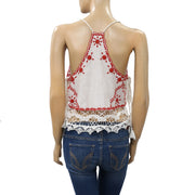 Free People Eyelet Embroidered Ivory Cami Crop Top S New