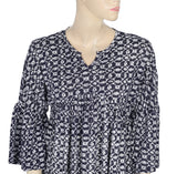 Lucky Brand Printed Bell Sleeve Split Neck Multi Color Blouse Top L