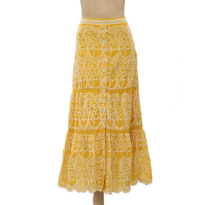 Anthropologie Marigold Tiered Eyelet Maxi Skirt