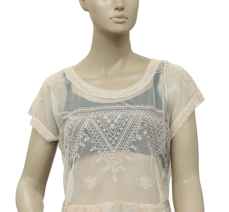 Free People Mesh Embroidered Crop Sheer Top Ivory S