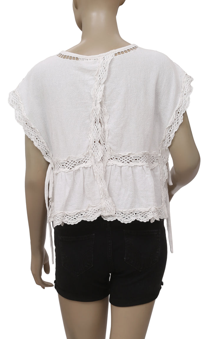 Free People Embroidered Cutwork Lace Top White S