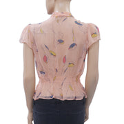 Kimchi Blue Urban Outfitters Printed Blouse Crop Top Buttondown Sheer M