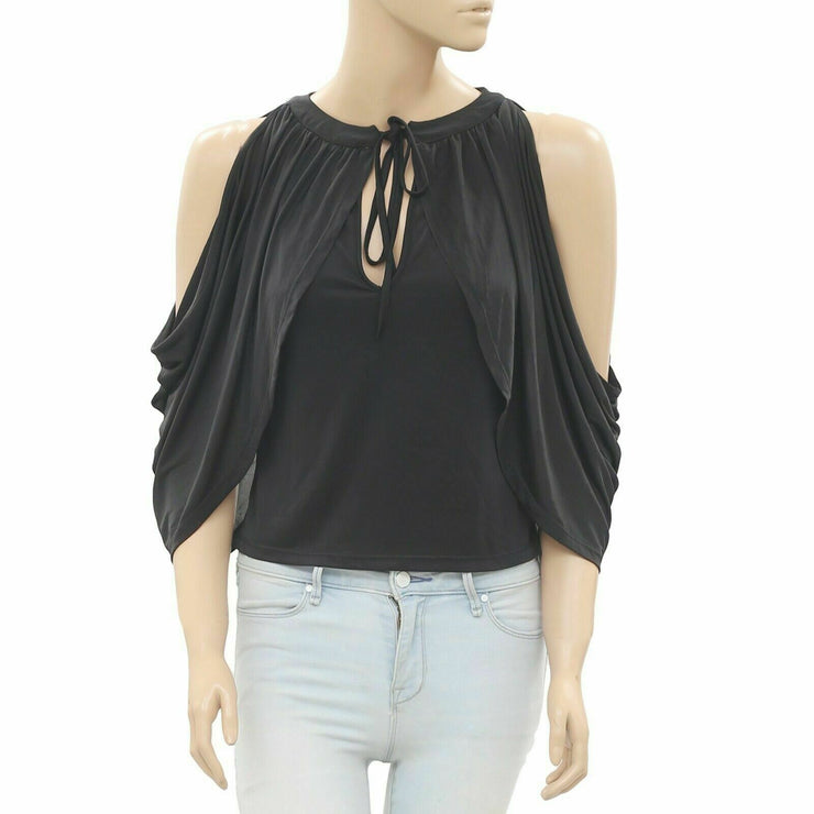 Koovs Solid Black Blouse Top M