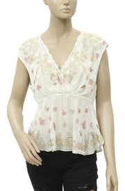 Free People Embellished Embroidered Cutout White Top S