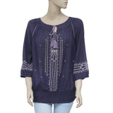 Just Me Ruched Smocked Embroidered Raglan Casual Blue Blouse Top L