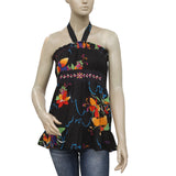 Oneill Printed Embroidered Smocked Halter Top S