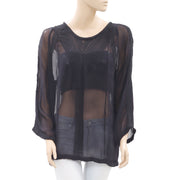 IRO Oprah Embroidered Black Top M