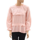 Seed Heritage Embroidered Scallop Trim Blouse Top M US 8