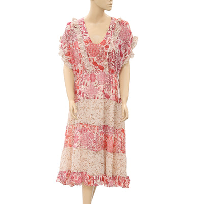 Ulla Johnson Floral Printed Midi Dress Ruffle Kimono Red S