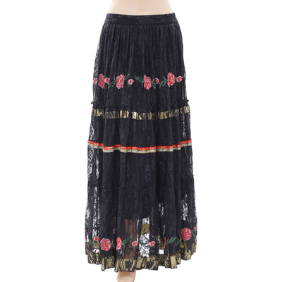 White Chocolate Embroidered Black Maxi Skirt Embellished Lace S New