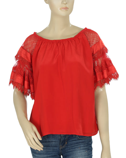 Yoana Baraschi Floral Pattern Red Top M