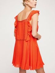 Free People FP One Priscilla Eyelet Embroidered Orange Dress S