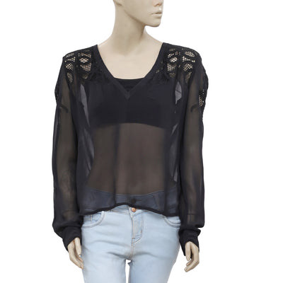 Zara Crochet V Neck Long Sleeve Casual Black Blouse Top Small S