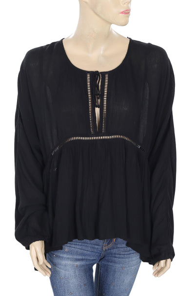 Elan Cutout Lace High Low Kimono Black Blouse Top L