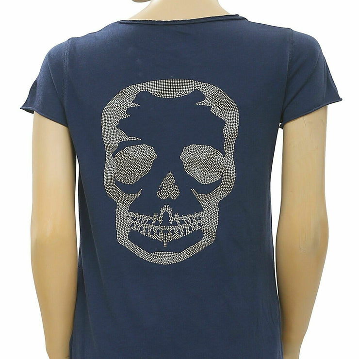 Zadig & Voltaire Tunisien MC Skull Beads Embellished Blue T-Shirt Top S