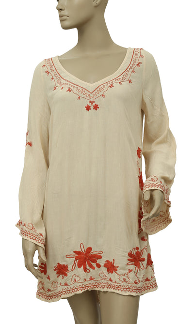 Free People Skyfall Embroidered Tunic Dress Bell Sleeve S